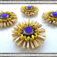 Mini Blossom Ornaments Paper Raffia Natural Purple Yellow Christmas Retro Decor