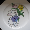 Plate Hand Decorated with vintage decal of a rabbit