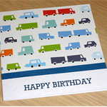 Kids Happy Birthday card - cars