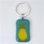 Fused Glass Pear Keyring
