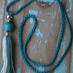 Teal and Ivory Handmade Crochet Tassel Necklace with Complimentary Gift Tag