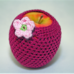 Apple cozy (protector) with crochet apple flower button - COTTON