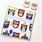 Fun owl happy birthday party hat balloon present heart blue green celebrate card