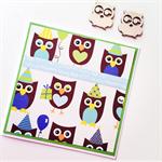 Fun owl happy birthday party hat balloon present heart blue green celebrate card