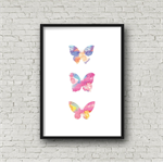 Watercolour Butterfly Trio - A4 digital print