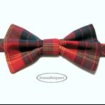 Bow Tie Tartan #4, to fit 6m-8yrs Boy, red green yellow, velcro fasten