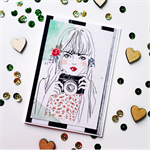 Girl lady sketch camera floral watercolour blank friend birthday card