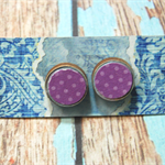 Decoupage Earrings-Purple Dots