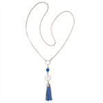 Boho Blue tassle necklace