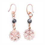 Rose gold small filigree earrings