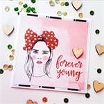 Forever young fun girl her friend blank wood heart monochrome celebration card