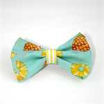 Pineapple fabric bow aqua and yellow clip