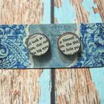 Decoupage Earrings-White Text