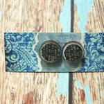 Decoupage Earrings-Black Text