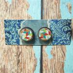 Decoupage Earrings-Colourful Geo
