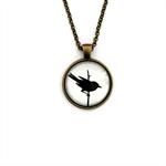 """Black Bird White 002"" | Choose silver or bronze | The $10 Pendant"