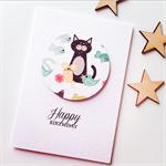 Birthday boy girl friend cat mouse bird fish happy birthday card