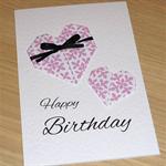 Female Happy Birthday card -  Origami Hearts