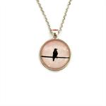 """Black Bird Pink 003"" | Choose silver or bronze | The $10 Pendant"