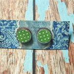 Decoupage Earrings-Lime Green Dots