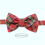 Bow Tie Tartan #3, 6m-8yo Boy, red green black, yellow white, velcro fasten