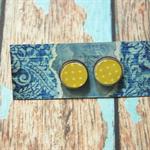 Decoupage Earrings-Yellow Dots