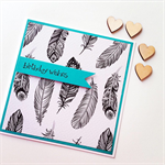Happy Birthday monochrome feathers teal on trend her friend celebration card
