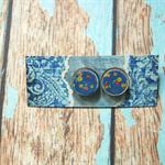 Decoupage Earrings-Blue Flowers