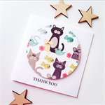 Thank you her him fun funky cat mouse bird fish thanks gratitude bright card