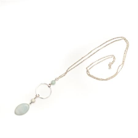 Fern long green gemstone necklace