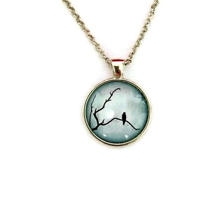 """Black Bird Blue 004"" | Choose silver or bronze | The $10 Pendant"