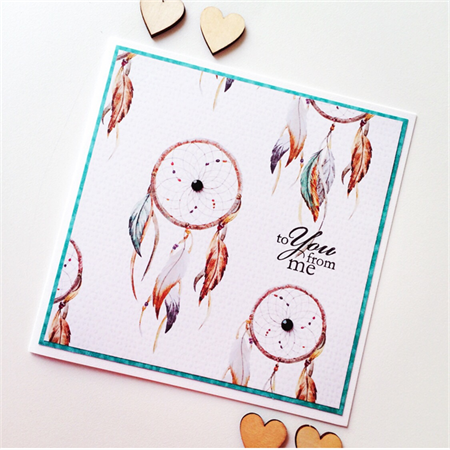 For you dreamcatcher feathers teal on trend him her you me love blank card
