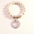 Personalised Hand Stamped Family Tree Glass Pearl Bead Bracelet