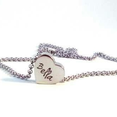 Personalised Hand Stamped Petite Solid Love Heart Name Pendant Silver