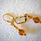 Amber bead, gold lever back earrings