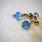 Blue bead, clip-on silver earrings