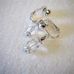 Clear bead, clip-on silver earrings