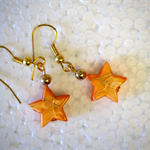Apricot star bead, gold hooks