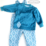 Baby Girl 9-12 months, Romper and Sweater top set, Overall blue white damask