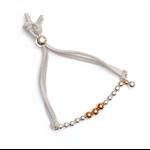 Boho rose gold and silver adjustable suede bracelet
