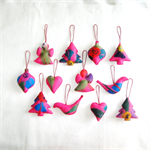 12 Felted Christmas Decorations 2 Angels 4 Trees 2 Hearts 2 Baubles 2 Birds