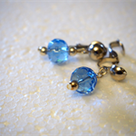 Blue bead, clip-on silver earrings