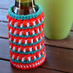 Green, Red & White Cooler/Bottle Cosy/Koozie