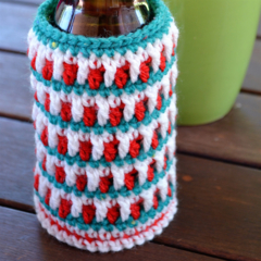 Green, White & Red Cooler/Bottle Cosy/Koozie