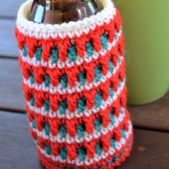 White, Red & Green Stubby Cooler/Bottle Cosy/Koozie