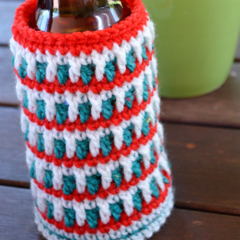 Red, White & Green Cooler/Bottle Cosy/Koozie