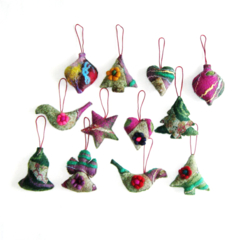 12 Felted Christmas Decorations 1Angel,3 Trees,2 Hearts,2 Baubles 2 Birds,1Star