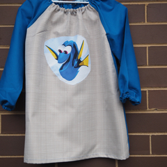 Art smock for 5 - 8 year old. Beige & turquoise, Dory.