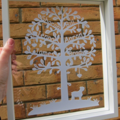 Personalised Papercut Family Tree