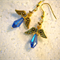 Blue angels earrings with gold hooks